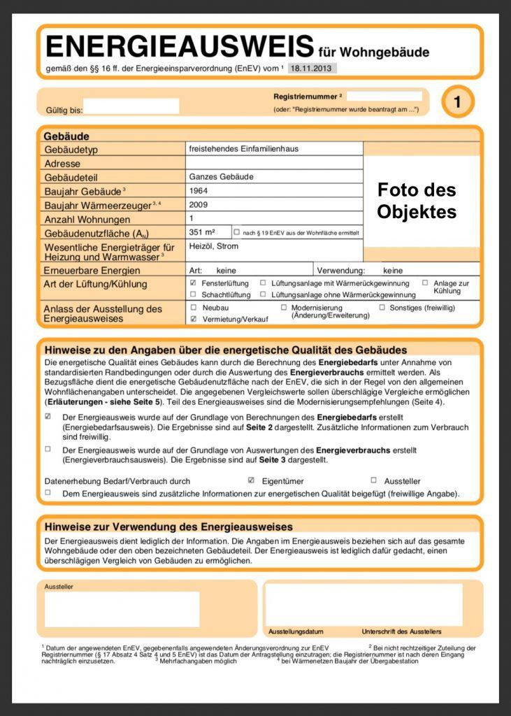 Energieausweis Bedarfsausweis Seite 1