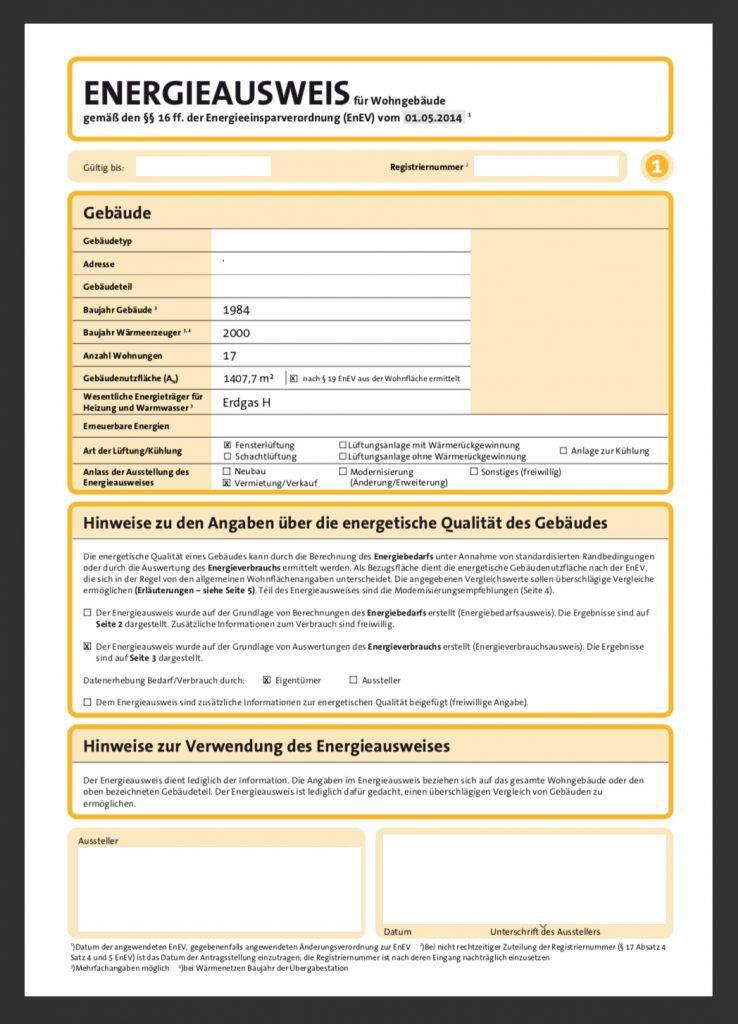 Energieausweis Verbrauchsausweis Seite 1