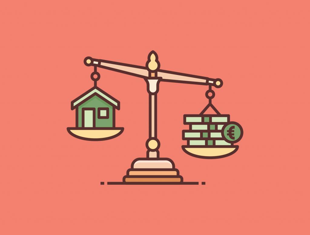 Waage Haus und Geld